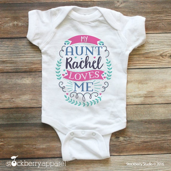 New baby clothing stockberry apparel my aunt loves me shirt or baby bodysuit personalized baby clothes girl baby shower negle Choice Image