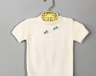 Vintage 1950's Short Sleeve Ivory Bluebird Sweater by Bouele Size 12mo - OSVKC0156