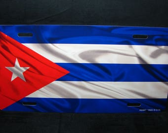 CUBA WAVING FLAG Metal license plate for cars