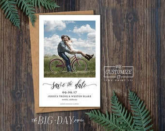 Printable Photo Save The Date • Vintage Photo Style Wedding Save The Date Printable File • We Customize It, You Print It