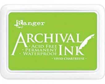 Ranger Archival Ink Vivid Chartreuse - Green Ink - Green Archive Ink - Ranger Green Ink - Permanent Green Ink - Waterproof Ink