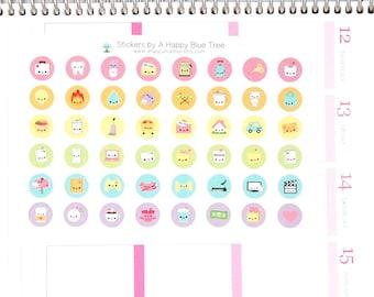 Happy Reminder Dot Stickers (in UNICORN kit colors) Vertical Horizontal Erin Condren Life Planner ECLP Mambi Circle Kawaii Cute Funny Budget