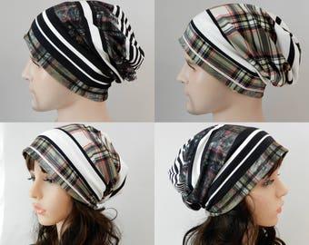 Slouchy jersey beanie women men Reversible beanie Hat for women Chemo hat Viscose beanie cap Womens beanie Spring headcover stretch S-XL