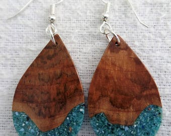 Maple Burl Earrings with Turquoise inlace with Sterling Silver Ear wires and Findings JER140SS