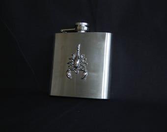 Scorpion hip flask , stainless steel flask 6 oz- groomsmen gift , gifts for men