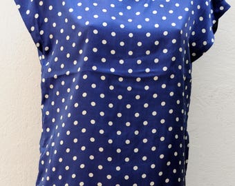 Vintage navy blue and white polka dot top Size 38-40 FR