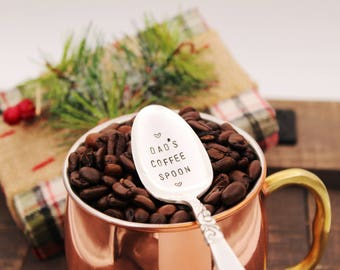 DAD'S COFFEE SPOON ~ Stocking Stuffer, Gift for dad, stamped Coffee Spoon gift idea for him under 15, Christmas for him, coffee for dad