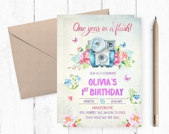 Oh Snap Camera Birthday Invitation, Camera Invitations, First birthday invitation girl, One year in a flash,  Camera invites, Camera  themed
