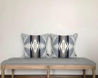 Pendleton wool pillow cover, throw pillow, wool pillow, gray and white pillow