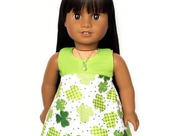 Sleeveless Dress, St. Patrick's Day, High Waist, Shamrocks, Clovers, Black, Green, American, 18 inch Doll Clothes