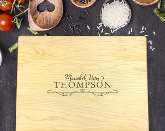 Last Name Cutting Board, Custom Cutting Board, Wedding Gift, Gift for Bride, Gift for Newlyweds, House Gift, New Home Gift, B-0020 Rec