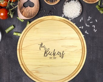 Custom Cutting Board Round - Engraved Cutting Board, Wedding Gift, Personalized Gift, Housewarming Gift, Anniversary Gift, Christmas, B-0005