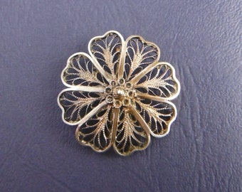 Vintage filigree flower brooch