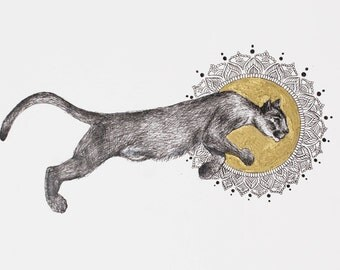 Puma illustration, holistic art, freespirit, Graphic Mandala,harmony of nature, Boho Gift ,Gold Draw, Inktober 2017, puma artwork