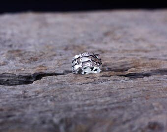 Adjustable ring with fish / 925 sterling silver / fish ring.