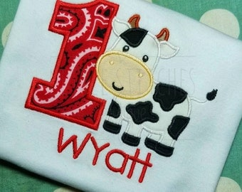 First (1st) Birthday Custom Embroidered Cow Shirt / Bodysuit