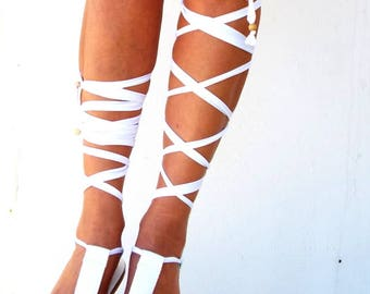Gladiator Sandals, White lace up Sandals,  Leather sandals, Greek Sandal,Genuine leather shoes