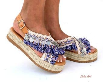 Blue Marine Sandal wedged Heel, Platform, slip on  sandals Blue white & purple, Greek leather sandals, boho sandals,  Handmade sandals