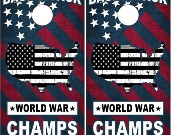 American Flag World War Champs Patriotic LAMINATED Cornhole Wrap Bag Toss Decal Baggo Skin Sticker Wraps