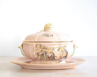 French Vegetable Tureen Jardiniere, French Soupt Tureen, Vegetable Bowl With Tray, Des Glaneuses Image in Pastel Colors and Gold Details