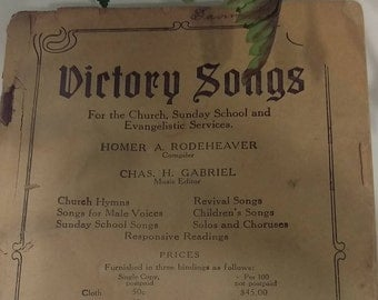 FREE SHIPPING: Old Victory Songs, vintage hymns, hymn book, Victory Songs compiled by Homer Rodeheaver, unbound book, industrial decor