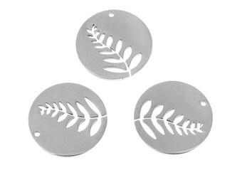 "3 pendants openwork medallions ""Foliage"" 2.5 cm stainless steel"