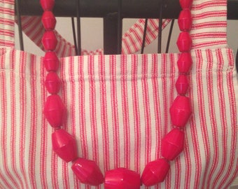 Vintage Long Necklace Beaded With Large Chunky Faceted Cherry-Red Plastic Beads--String-Strung Necklace--Vintage Retro Jewelry/Necklace