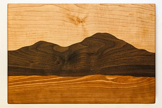 Mountain view wood cutting board