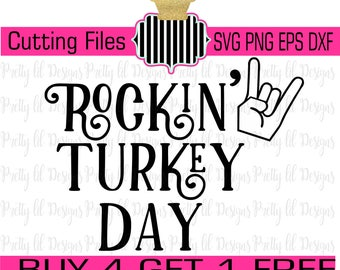 Buy 4 Get 1 Free** Rocking Turkey Day guy/boy ...  SVG , Png dxf, & eps Cutting Files