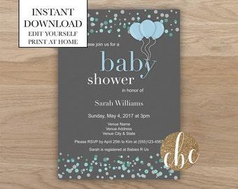DIY Printable Baby Shower Invite - Blue/Editable/Digital Download