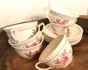 Vintage WindsorWare Johnson Bros Tea Cups and Saucers with Rose Pattern Set of 6   F. B. & Co., Made in England