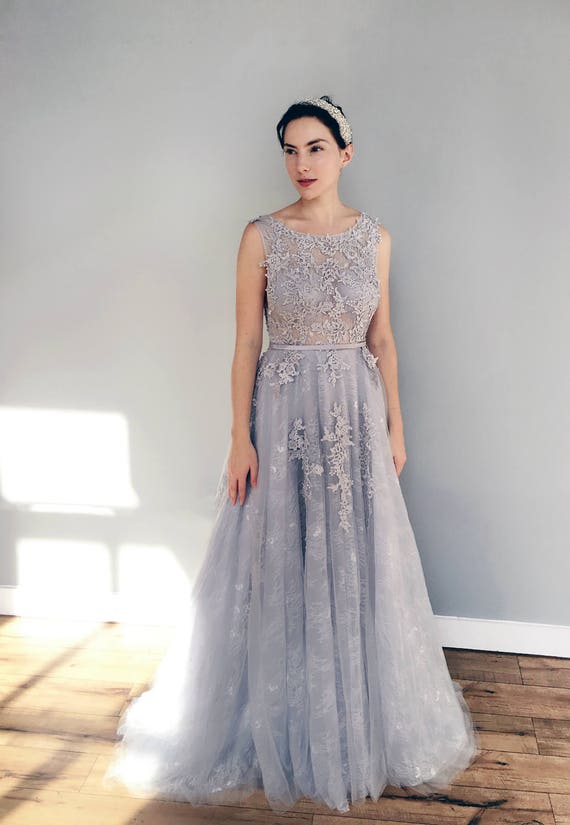 grey wedding dress gray blue lace wedding dress 4624