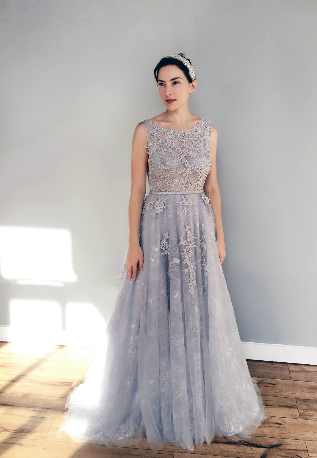 Gray blue lace wedding dress for Blue lace wedding dress