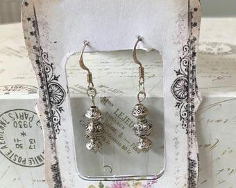 Delicate Tibetian silver bead earrings.