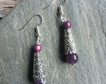 1341 - ethnic earrings, silver tone and Amethyst