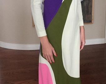 Jack Bryan Long Modern Abstract Dress 1970