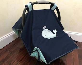 Baby Car Seat Tent, Baby Car Seat Canopy- Whale Car Seat Cover, Nautical Baby Car Seat Cover, Baby Boy Shower Gift, Newborn Shower Gift
