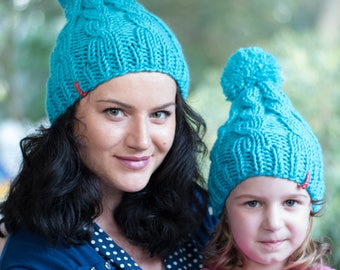 Matching hats / Cable knit hats / Blue knit hat / Winter toddler hat / Mommy and me / Matching hats / Hand knit beanie / Womens knit hat