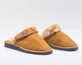 Almond shearling slippers for women. Real fur slippers, genuine fur shoes. Sheepskin slippers, fur slippers, shearling fur shoes.
