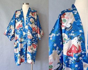 Vintage Japanese figure kimono/haori style slip/duster women's size S/M/L