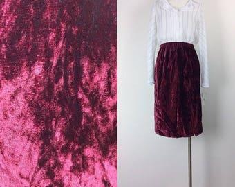 vintage red velvet midi skirt size S/M