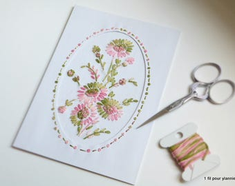 Embroidered handmade card-anniversary - Valentine's day-mother's day embroidered cards