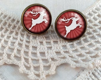 Red Reindeer Earrings- Christmas Earrings