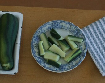 Miniature sliced zucchini, (courgette), dollhouse food, miniature vegetables, modern dollhouse, miniature food