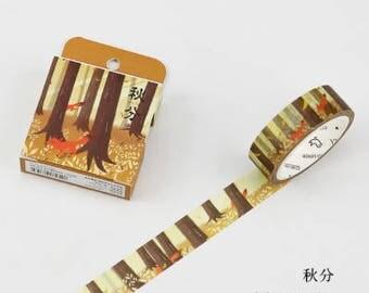 Autumn Fox - Autumn Washi Tape - Fox Washi Tape - Tree Washi Tape - Fall Leaves (15mm X 7m)