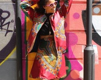 African Wrap Skirt Midi - Cherno Wrap - Dashiki Wrap - Wax Print Skirt - Colourful Wrap Skirt - Festival Skirt - Dashiki Skirt