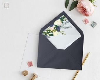 Envelope Liners, Printable Liner, Navy Blue Envelope Liner, Floral Envelope Liner, Envelope Liner, A7 Envelope Liner, Instant Download, #BGW