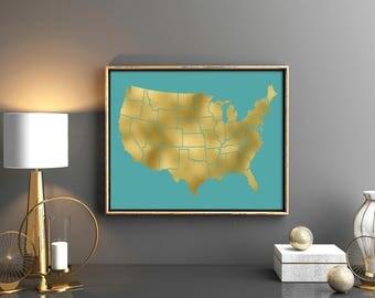 Usa Map Printable Etsy - Us map poster printable