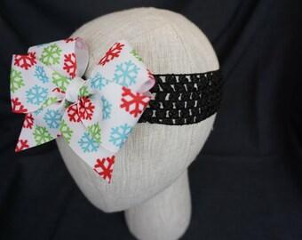 Snowflake Bow on Elastic Headband; Baby; Infant