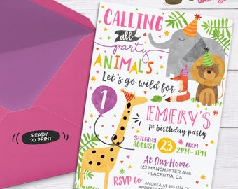 Girl Party Animal Invitation Calling All Party Animals Zoo Birthday Invitation Party Animal Birthday Zoo Girly Safari Birthday Invite